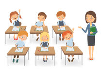 Teacher with pupils at a lesson. Teacher with pupils in a classroom at a lesson. Vector illustration on a white background Stock Image