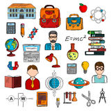 Teacher with pupils and school supplies sketch Stock Photo