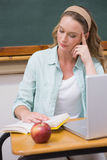 Teacher reading book at her desk Stock Photography