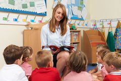 Teacher Reading Book To Elementary School Class. Teacher Reads Book To Elementary School Class Royalty Free Stock Images