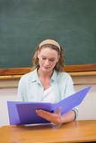 Teacher reading papers at her desk Stock Images