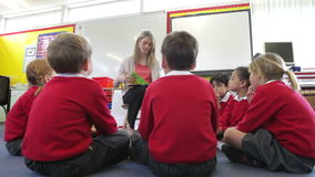 Teacher Reading Story To Elementary School Pupils. Pupils sit in circle on floor as teacher reads to them..Shot on Canon 5d Mk2 with a frame rate of 30fps stock video footage