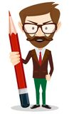 Teacher with a red pencil, vector illustration Stock Image
