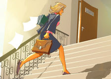 Teacher runs up the stairs to the classroom. Late teacher runs up the stairs to the classroom Stock Image