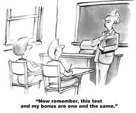 Teacher's Bonus Dependent on Test Scores. Education cartoon. The teacher tells the class that his bonus is dependent on their test scores royalty free stock images