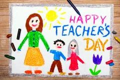Teacher's Day card. Colorful drawing - Teacher's Day card Stock Photos