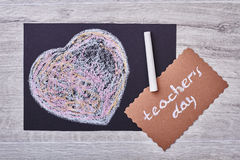 Teacher`s Day card and heart. Stock Image