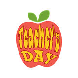 Teacher's Day. Lettering. The inscription in the apple. Stock Photo