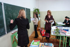 Teacher's day in a rural school in Kaluga region of Russia. Every year in Russia is celebrated on 5 October, the professional holiday teachers - Day teachers stock photos