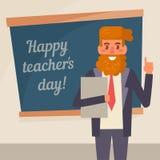 Teacher`s day. Vector. Cartoon.. Art on white background. Flat Royalty Free Stock Photography