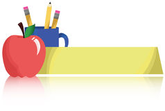 Teacher's Name Placard. A blank teacher's name placard next to an apple and mug of pencils Stock Illustration
