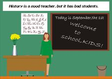 Teacher says hallo. Theme of this image is Welcome To School Stock Photography