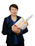 The teacher with school accessories. On white background Royalty Free Stock Photos