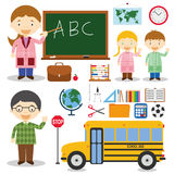 Teacher and school characters vector illustration Royalty Free Stock Photography