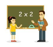 Teacher and school girl near blackboard in flat style Stock Images