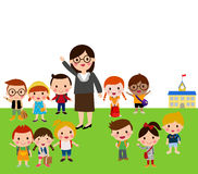 Teacher and school kids Royalty Free Stock Images