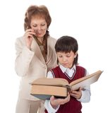 Teacher and schoolboy Stock Photo