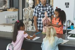Teacher and a schoolgirl behind a desk showing to others school kids a dummy skeleton royalty free stock photography