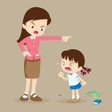 Teacher scolding student girl rampage. Teacher angry at student girl and blame her Stock Photography