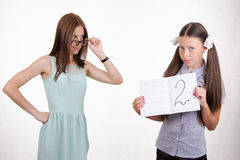 Teacher scolds student for deuce Royalty Free Stock Images