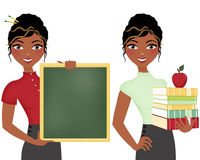 Teacher set with books and chalkboard. African American teacher, double clip art set, holding books and apple or chalkboard stock illustration