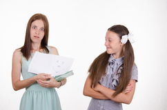 Teacher is shocked by the painted faces in a notebook Royalty Free Stock Photos
