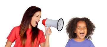 Teacher shouting at funny african girl i. Solated on a white background Royalty Free Stock Photography