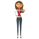 Teacher showing stop gesture with hand.Serious business-lady prohibiting. Stock Photos