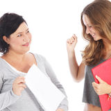 Teacher showing student her results Royalty Free Stock Images