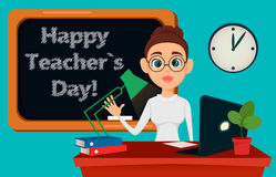 Teacher sitting at her desk while lesson in classroom. Cheerful female instructor in glasses. Happy Teacher`s Day. - stock vector Royalty Free Stock Photography