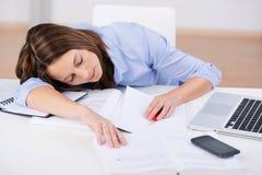 Teacher Sleeping At Classroom Desk Stock Photos