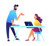 Teacher speaking and student listens sitting at the desk with laptop vector illustration. University teacher speaking and student listens sitting at the desk royalty free illustration