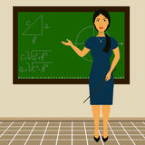 Teacher standing at the blackboard with a pointer in his hand. Vector Stock Photos