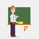 Teacher standing in front of blackboard holding chalk in classroom at school, college or university. Flat design people characters Royalty Free Stock Images