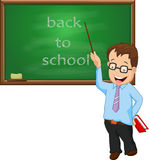 Teacher standing in front of chalkboard with holding pointer Stock Photography
