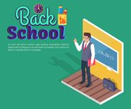 Teacher Standing Near Blackboard on Grammar Lesson. Back to school poster with teacher standing near blackboard on grammar lesson side view 3D vector with Stock Photo