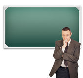 Teacher standing near clean chalkboard Royalty Free Stock Images