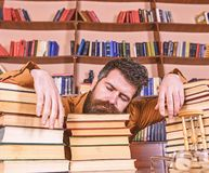 Teacher or student with beard fall asleep on books, defocused. Overstudied concept. Man on sleeping face lay between. Piles of books, fall asleep while studying royalty free stock images