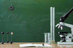 Education background. Teacher or student desk table. Education concept. Teacher, student, biologist or chemist desk table. Education background. Education stock photography