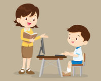 Teacher and student boy learning computer vector illustration