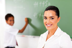 Teacher student chalkboard Stock Image