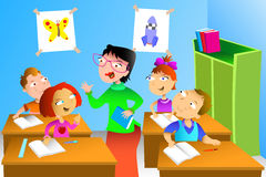 Teacher and student in the classroom. A vector illustration of kids studying math in classroom with teacher Royalty Free Stock Photos