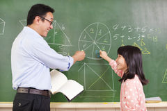 Teacher and student discussing math questions. Isolated on white background royalty free stock photography