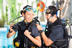Teacher and student in a diving school Royalty Free Stock Images