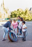 Teacher and student in physical education royalty free stock photography