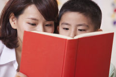 Teacher and Student Reading Stock Photography