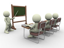 Teacher and students. 3d render of teacher teaching students in class room Stock Image