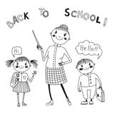 The teacher with the students. Back to school. Royalty Free Stock Photo