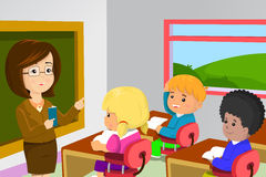 Teacher and students in classroom vector illustration