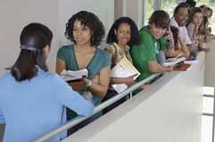 Teacher With Students At College Balcony Stock Photo